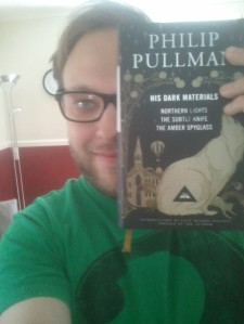 My ugly mug with a Beautiful Everyman edition of Philip Pullman's trilogy.