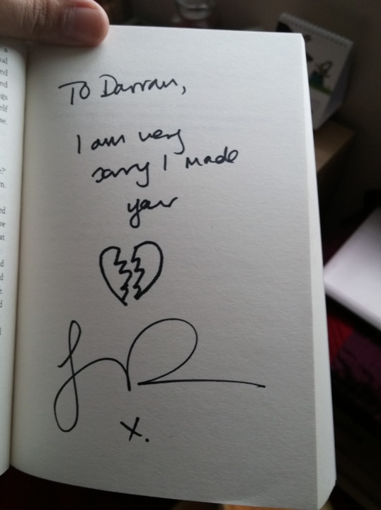 I asked James to sign a special page in the book instead of the title page. Heartbroken.